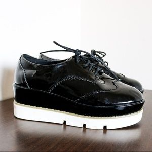 ASOS platform chunky brogue black and white laced